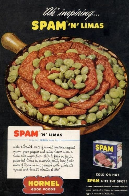 lima beans on spam