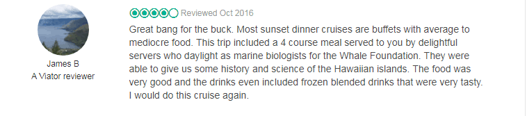 great review from one of the hawaiian dinner cruises